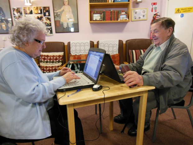 Margaret, Fred and laptops