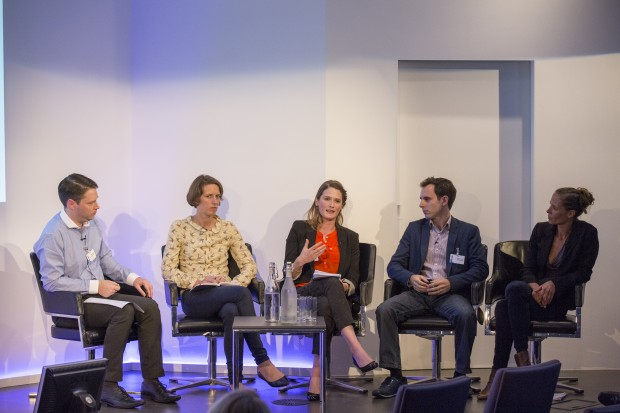 (l-r) Nick Stopforth (Society of Chief Librarians), Katie O'Donovan (Google), Sophie McKechnie (Hyde Group), Eddie Copeland (Policy Exchange), Dr. Ellen Helsper (LSE)